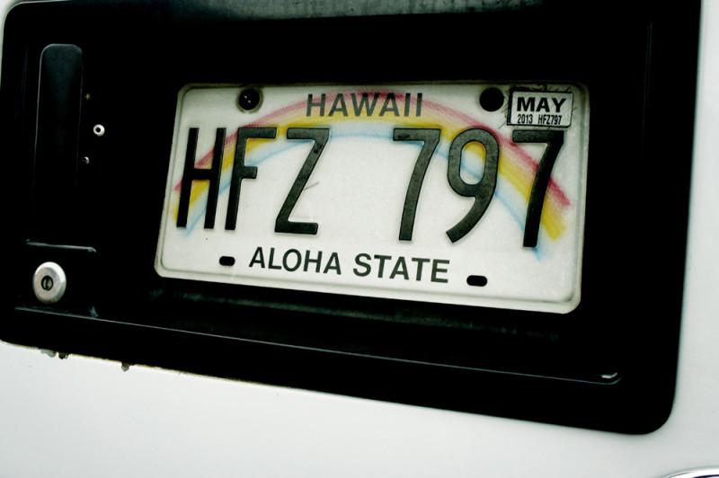 ハワイの車のナンバープレート