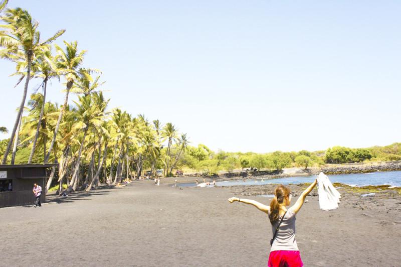 ハワイ島のプナルウ海岸