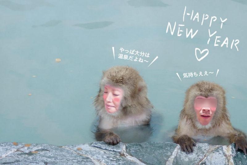 2016年の年賀状はお猿さんに顔ハメ